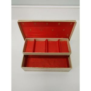Vintage Jewelry Box Dancers Tan Gold Red Interior